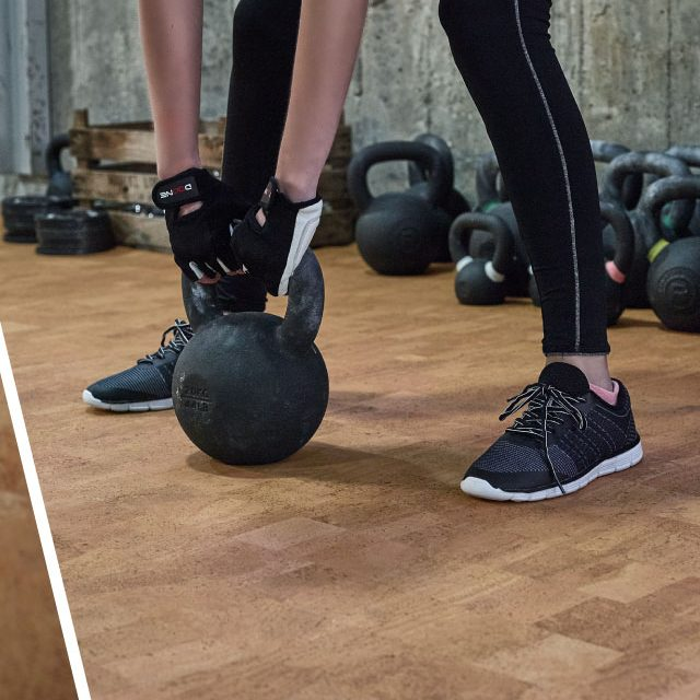 Cork flooring in a the gym | Terry's Floor Fashions
